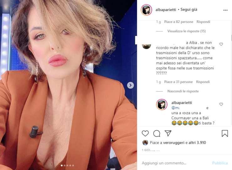 Alba Parietti ospite D'Urso